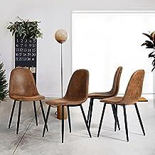 fitathome lot de 4 chaises tendance scandinave rtro vintage sude marron pied mtal noir salle - Chaise Vintage Scandinave