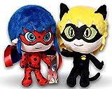 Prodigiosa 2x Peluches Ladybug y Adrien Cat Noir 25cm Las aventuras de...