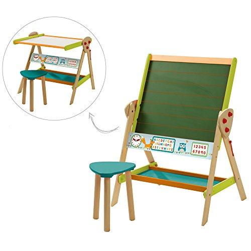 Preisvergleich Produktbild roba Stand-Tafel Fuche & Eule, inkl. Hocker, 99x69x57 cm farbig lackiert