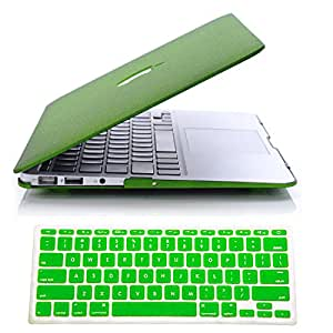 """IDACA Quicksand Green Matte Hard Shell Case Cover for Macbook Air 13"""" 13.3"""" A1369 & A1466 and 2014 New Macbook Air 13"""" with Silicone Keyboard Cover (USA KEYBOARD VERSION)"""