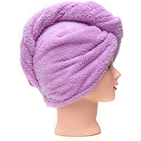 Toallas de salón de pelo rápido seco – KingOfHearts™ Envoltura de franela de secado microfibra suave torcedura, rápido reducir el tiempo de secado Maquillaje facial lavado de la cara, las mujeres con adelgazamiento cabello rizado - 2 Pack - púrpura y
