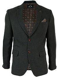 Herrensakko Olive Grün Eng Tailliert Tweed Braun Trimm Lässig
