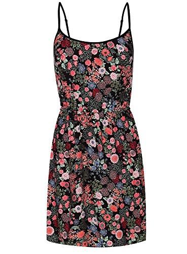 oodji Ultra Damen Druck-Sommerkleid aus Viskose Schwarz (2945F)