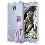 NALIA Handyhülle für Samsung Galaxy J3 2017 (EU-Modell) Slim Silikon Motiv Case Crystal Schutz-Hülle Dünn Durchsichtig Etui Handy-Tasche Back-Cover Transparent Bumper, Designs:Dandelion Pink