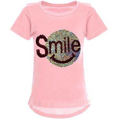 Mädchen T-shirt Kleid (BEZLIT Mädchen Wende-Pailletten T-Shirt Tollem Motiv 22030 Rosa Größe 164)