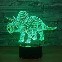 Kaka Store Parasaurolophus dinosauro 3D illusione ottica lampada da scrivania 7colori cambiamento touch Button USB Nightlight produce unico effetti di luce di visualizzazione luce scultura arte Triceratops