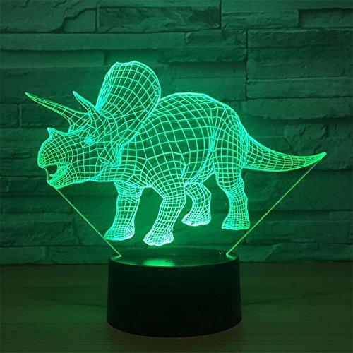 Kaka Store Parasaurolophus Dinosaurier, optische 3D-Illusion, Schreibtisch-Lampe in 7Farben, USB-Nachtlicht mit Touch-Button Triceratops