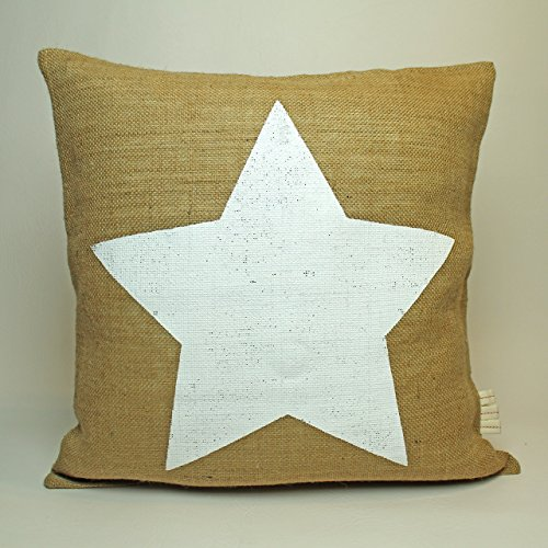 Weihnachtsdeko Weihnachten Jute Kissen-Bezug * Stern & Star * / Kaffee-Sack-Leinen / Rupfen / Hochzeit Dekoration: rustikal & vintage: Dekokissen 50 cm x 50 cm - HANDMADE (Dekoratives Sterne-kissen)