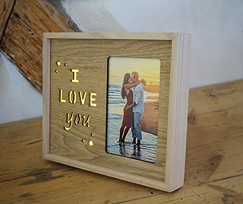 FINIA Bilderrahmen I Love You mit kleinen Herzen aus Holz