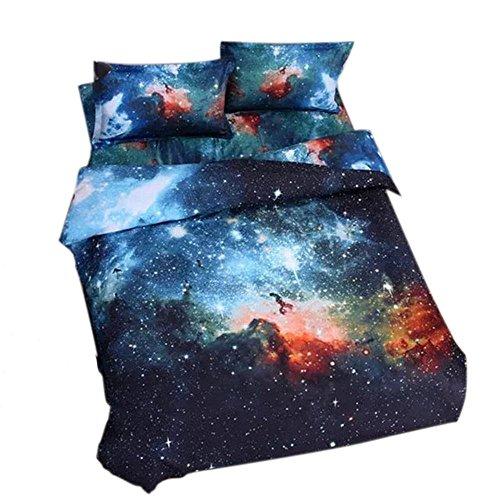 Galaxie Parure Lit 1 Personne 4 Pièces avec Housse de couette Draps de lit Taies d'oreiller Sans Additifs Rose Imprimé Fantaisie Chic Douceur d'Intérieur