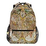Oarencol Vintage-Rucksack mit Weltkarte, bunt, für Reisen, Wandern, Camping, Schule, Laptop-Tasche