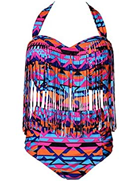 Perfashion de la mujer Plus Size acolchada Bikini borlas Multy Color Tankini para mujer