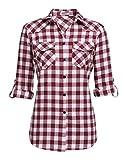 Karohemd Damen Bluse Kariertes Langarm Hemd Baumwolle V-Ausschnitt Casual Boyfriend Blusenshirt mit Einstellbare Ärmeln