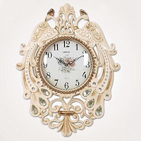 moda europea resina de 65 * 50 cm reloj de pared del pavo real salón restaurante del dormitorio den decoración creativa , beige