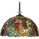 SHENGXUAN Retrò Lampadario Tiffany Stile Cucina, 16.5 Pollici Frutta Modello Lampade A Sospensione Vetro Colorato per Soggior