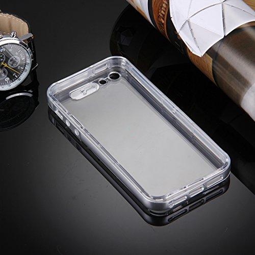iPhone Case Cover Pour iPhone 5 & 5s & SE Slide Slice Design Plastique Amovible Flamme Transparent TPU Housse de protection avec appel entrant Flash LED clignotant ( Color : Black ) Silver