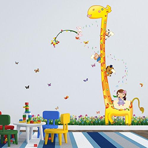 """Walplus - Adesivi decorativi da parete, motivo """"Giraffa e farfalle nel prato"""""""