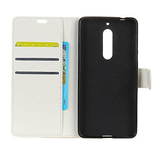 Klassische Litchi Texture PU Leder Schutzhülle Hülle Folio Flip Stand Case Cover mit Card Slots für Nokia 6 ( Color : Purple ) White