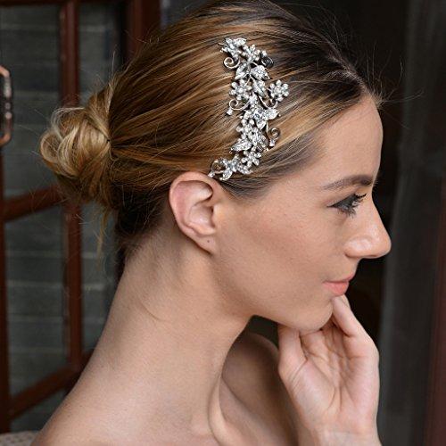 EVER FAITH® Kristall Vintage Inspiriert Schmetterling Blume Hochzeit Haarkamm Haarschmuck N03349-1 - 3