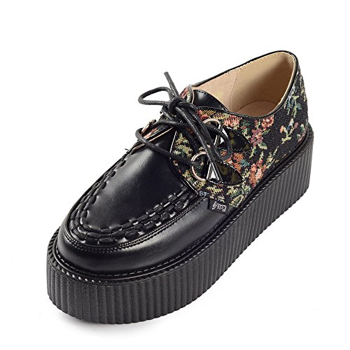 RoseG Mujer Zapatos Plataforma Cordones Creepers Negro Flor Size36.5