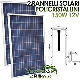 Kit de 2paneles solares 150W módulo fotovoltaico policristalino 12V 2pz * 150W para Camper Barco Baita eursolar