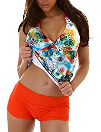 5f2b97e115a87 Veryzen Tankini Damen Bikini bauchweg Bademode Badeanzug Polster Zweiteiler  Panty Top Paisley Print