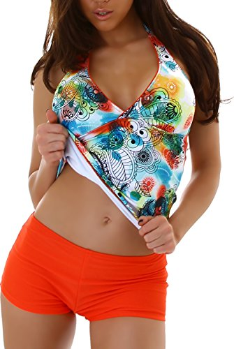 Veryzen Damen Tankini Bikini Bademode Badeanzug Polster Zweiteiler Panty Top Paisley Print Orange 38/40 (Etikett XXL) (Paisley Bikini Print)