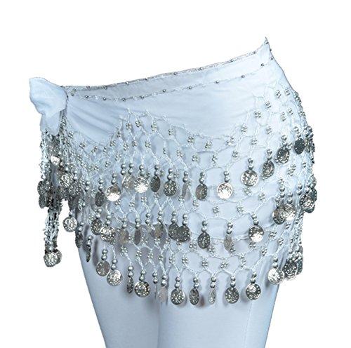 Dance Fairy 128 Silber münzen Chiffon Kostüm Bauchtanz Hüfttuch Münzgürtel für Karneval Fasching,Weiß