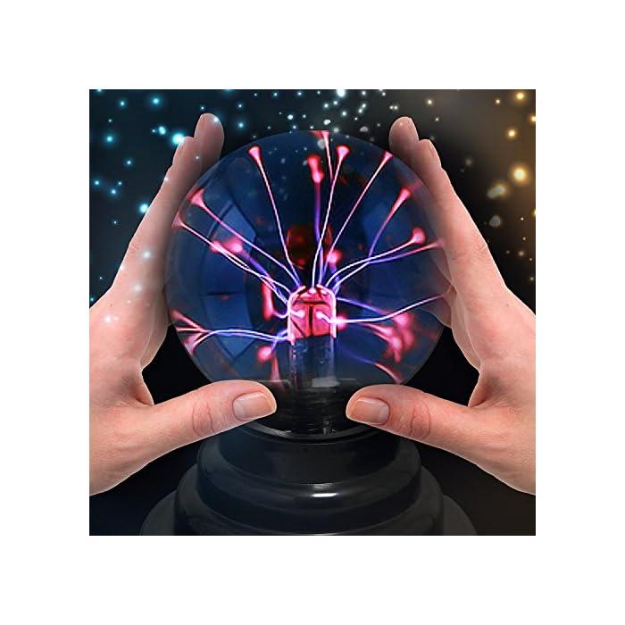 Theefun Magische Plasmakugel Mini Leucht Tragbare Ball Elektrostatische Kugel Berührungsempfindliche Blitzkugel, Blinkende Pädagogisches Spielzeug Physik Blitzlicht Plasmalampe Sphäre Lichteffekte