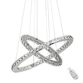 SAILUN 48W LED Kristall Design Hängelampe Zwei Ringe Deckenlampe Pendelleuchte Kreative Kronleuchter Dimmbar Lüster LED Deckenleuchte Dimmbar