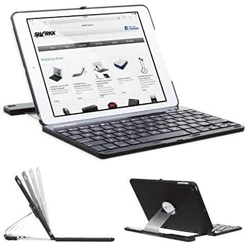 Sharkk iPad Air Prima Generazione Tastiera Bluetooth Case In Stile Folio Cover Protettivo Rotante 360 Gradi con Funzione di Sospensione automatica - Nero - Completa Caso Visione Mostra