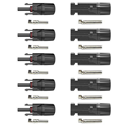ALLPOWERS 5 Pairs MC4 Connettori per cavo a Pannello Solare Maschio / Femmina