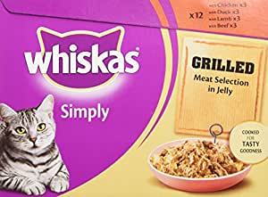 Whiskas Cat Food Simply Grilled Meat in Jelly 12 x 85 g (Pack of 4, Total 48 Pouches)