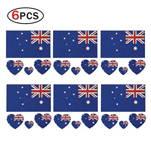 p Nationalflaggen Tattoo, modischem temporäre Kroatien Flaggen Tattoo Gesicht Körper Aufkleber für Fußball Fans Fußball Sport Spiel 6Blatt Mehrfarbig australien (Kostüme Zubehör Australien)
