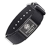 LinnaLove Cool Black Sport Canvas Band Medical Alert ID bracciali e Acciaio Inossidabile, cod. MD1786-TYPE 2 Diabetes