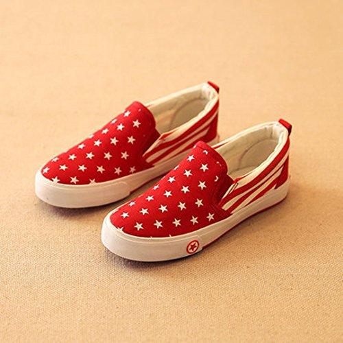 Kinder Frühling Unisex Sterne Pattern Canvas Slip on Einfache Lässige Flachschuhe Flach Sneakers Rot