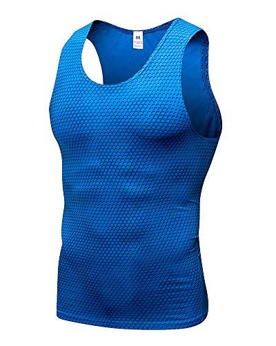 Herren Gym Sport Fitness Stringer Trainingsshirt Muskelshirt Tank Top mit 3D Druckmuster Blau L