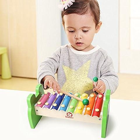 Xylophone,TOP BRIGHT 8 notes musical xylophone jouet musical avec 2 maillets en bois des jouets d'illumination de musique pendant plus Jouets éducatifs pour tout-petits pour garçons et filles avec des maillets de xylophone