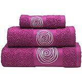 Sancarlos Juego de toallas bordadas Nudos , Algodón, Morado, 3 piezas