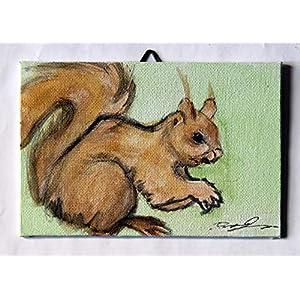 Das Eichhörnchen- auf handgemachter Pappe gemalt, Mischtechnik, Maße cm 15x10x0,3 cm; bereit, an der Wand befestigt zu werden.Hergestellt in Italien, Toskana, Lucca. Erstellt von Davide Pacini.
