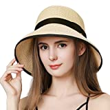 SiggiHat Sun Hats For Women Foldable UV Protection Wide Brimmed Floppy Panama Style Straw Beach Hat Crushable Fedora Adjustable 55-58CM Beige