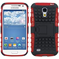 kwmobile Hybrid Outdoor Hülle für Samsung Galaxy S4 Mini mit Ständer - Dual TPU Silikon Hard Case Handy Hard Cover in Rot Schwarz