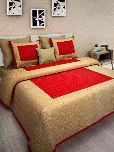 Cottonhandicool Cotton Rajasthani King Size Double Bedsheet With 2 Pillow Cover ( Red ) ( Shop Jaipuri )