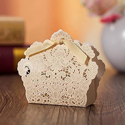 50 Pcs corte láser con lazo boda fiesta, bolsas de regalo de bodas Chocolate Candy y cajas de regalo (Dorado)