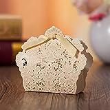 PONATIA 50 pcs laser Schnitt mit Band Hochzeit Party Favor, Hochzeit Geschenk Taschen Schokolade und Geschenk-Boxen (Gold)