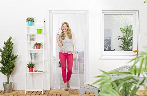 Wirksamer Insektenschutz: Lamellenvorhang aus Fiberglas für Balkontüren bis 100 x 220 cm, Fliegengitter mit 4 Lamellen in weiß oder schwarz, einfach und schnell zu montieren (Schiebetüren Terrasse Vorhänge)