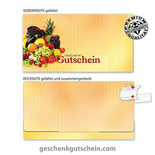 """10 Stk. Premium Geschenkgutscheine Gutscheine zum Falten""""Multicolor"""" für Obst- und Gemüsehändler OG201, LIEFERZEIT 2 bis 4 Werktage!"""