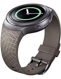 Correa de reloj, happytop 22mm Silicona Pulsera Reloj Banda Correa de muñeca de repuesto para Samsung Galaxy Gear S2SM-R720, hombre, marrón, S