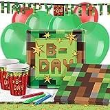 TNT Pixel Minecraft Kindergeburtstag Premium Party Deko Set - Für 16 Personen