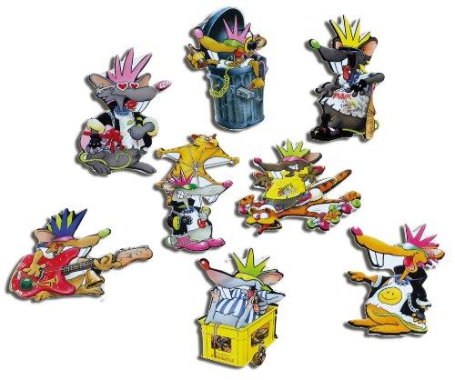 Kühlschrankmagnete Tiere lustig Magnete für Magnettafel Kinder stark 8er Set Comic mit Motiv Coole Punk Ratten